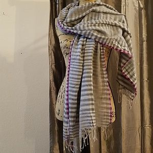 Eileen Fisher Gray Striped Scarf